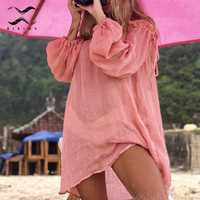 2019 Cotton beach dress cover up White sarong swim cover-ups Long sleeve beachwear off shoulder bikini women cover up tunic new