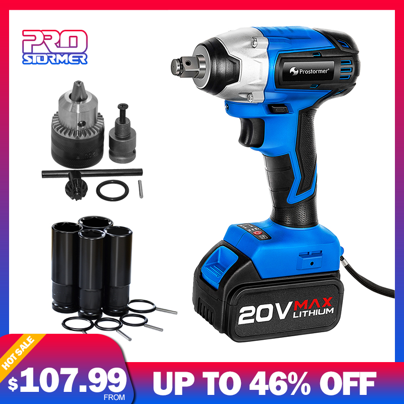 PROSTOEMER 20V Cordless Impact Wrench Socket Wrench Burshless 260NM Max Torque With Drill Adapter 4000mAh Battery Wrench