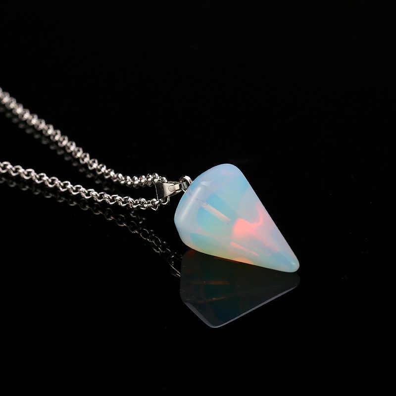 คอลัมน์คริสตัลหินธรรมชาติ Fluorite คริสตัลสร้อยคอจี้เครื่องประดับอัญมณี Hexagonal หินตกแต่ง