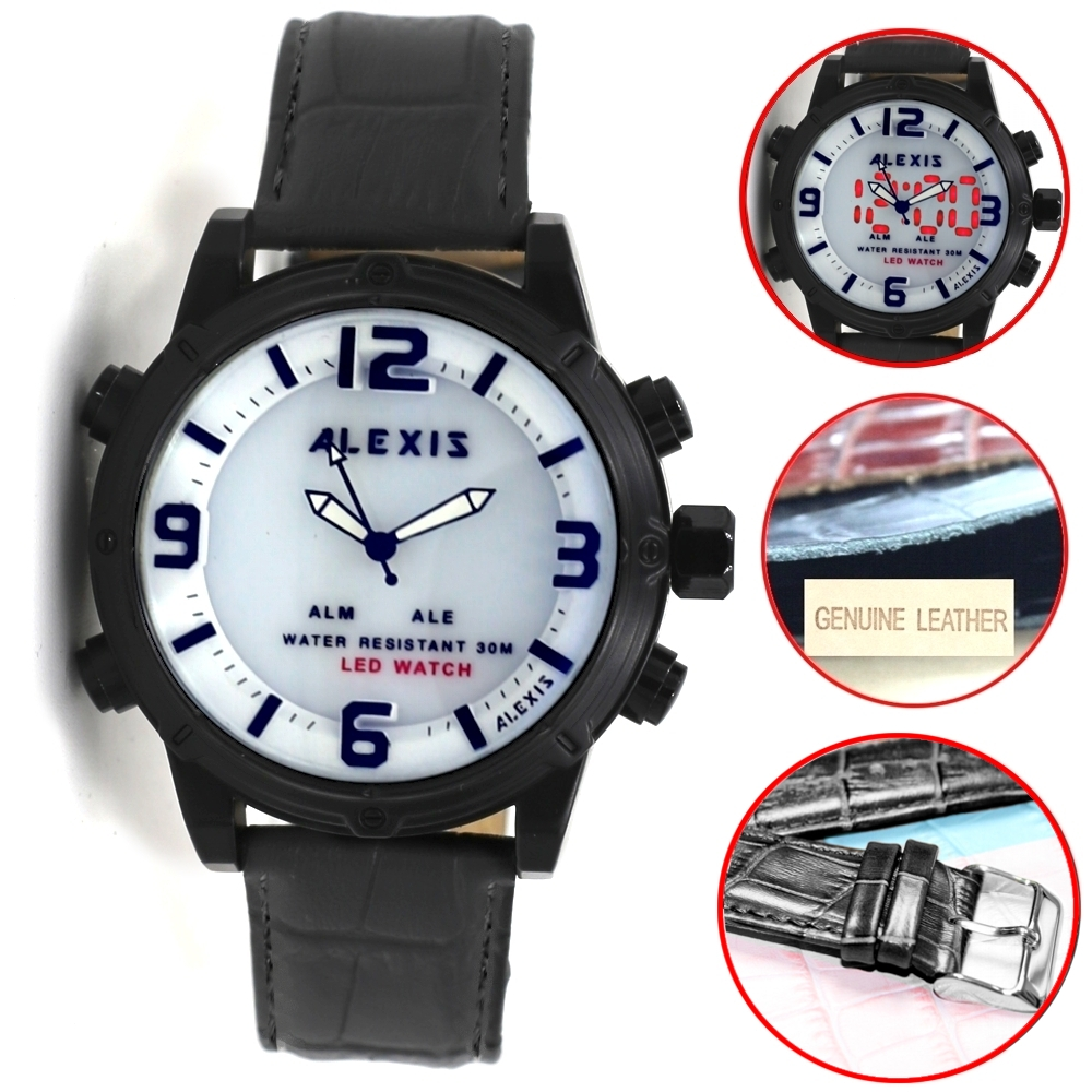 Alexis Brand Black Watchcase LED BackLight Water Resist Analog Digital Watch mens watches montre homme horloge mannenAlexis Brand Black Watchcase LED BackLight Water Resist Analog Digital Watch mens watches montre homme horloge mannen