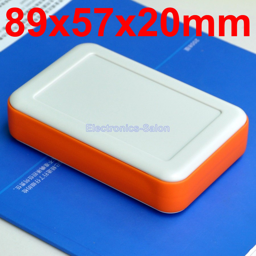 HQ Hand-Held Project Enclosure Box Case, White-Orange, 89 x 57 x 20mm.