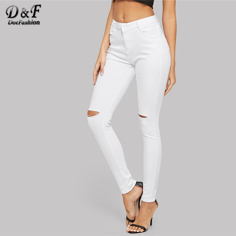 813647983b0 Dotfashion White Ripped Solid Jeans For Women 2019 Spring Casual Denim Pants  Korean Style Jeans Woman