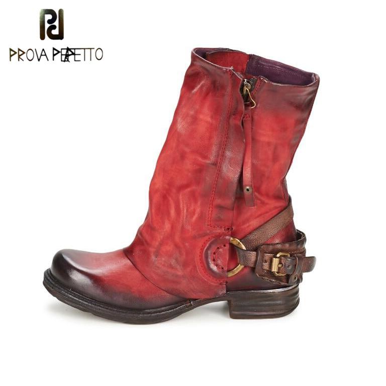 Prova Perfetto 2017 Winter Boots Women Do Old Leather Inner Fur Warm Bota Buckle Fashion Mid