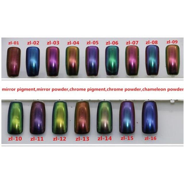 Hot Sales Fashion Mirror Pigment Mirror Powder Chrome Powder Chameleon Powder 16colors For Choose Free Shipping 1g/box