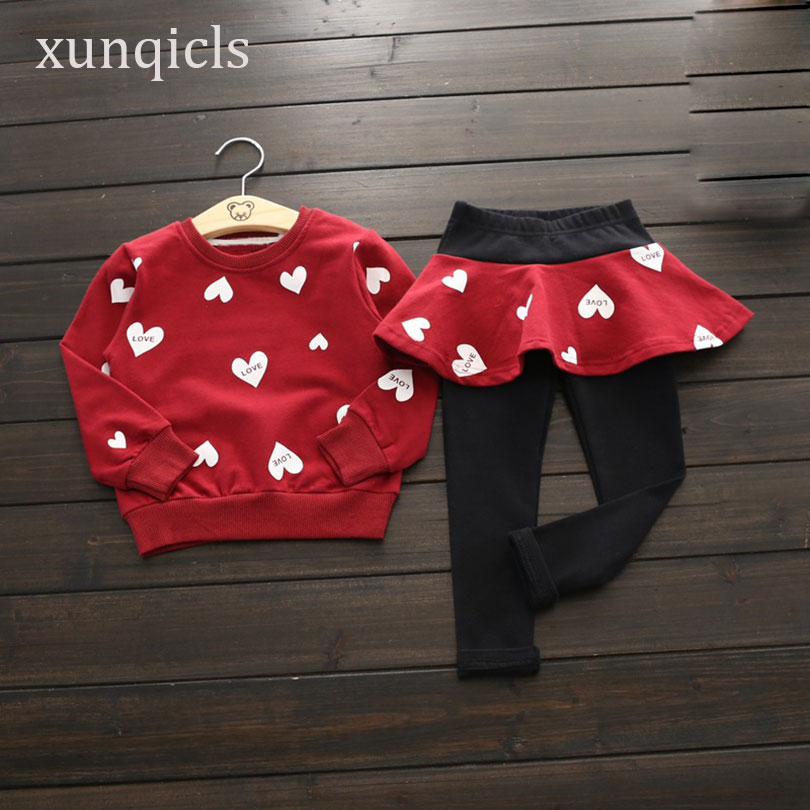 xunqicls 2-8Y Spring Autumn New Girls Clothing Set Baby Love Top +Pants Skirt Suit Children Long Sleeved Outfits Clothes he hello enjoy baby girl clothes sets autumn winter long sleeved cartoon thick warm jacket skirt pants 2pcs suit baby clothing