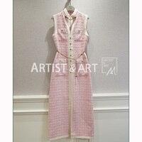 Svoryxiu 2019 дизайнер индивидуальный заказ Весна Винтаж без рукавов длинное платье женские элегантные вечерние розовый длинные платья с разрез
