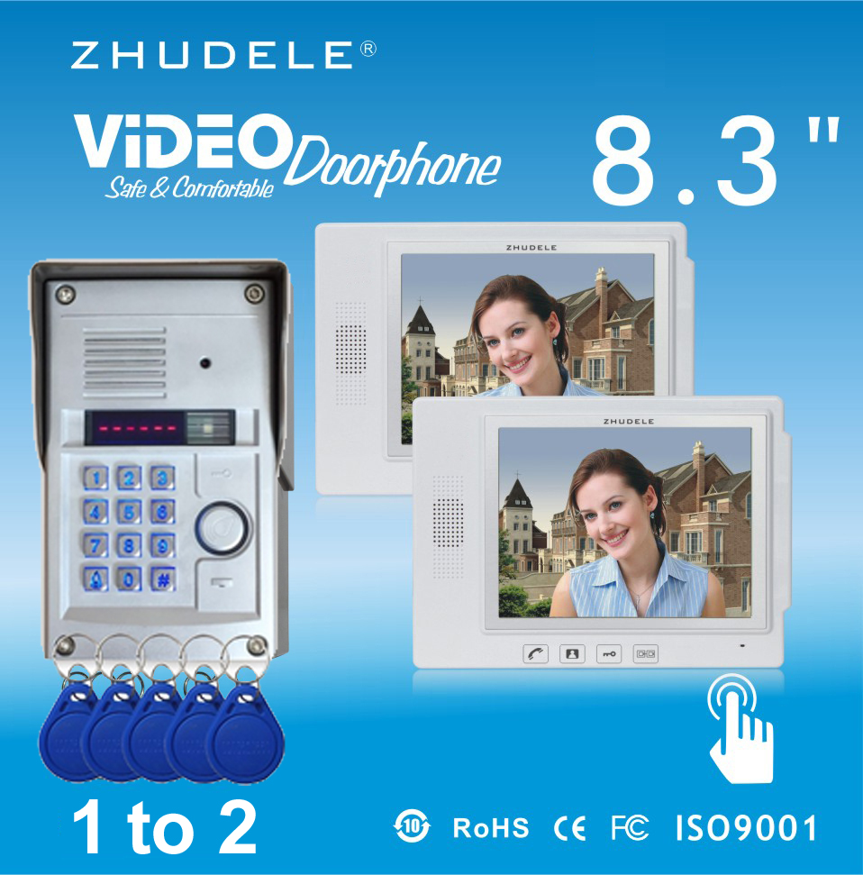 ZHUDELE Home Security Intercom System Kits 2X8.3Video Door Phone+1 CCD Camera,Waterproof Cover Password&Inductive Card Unlock