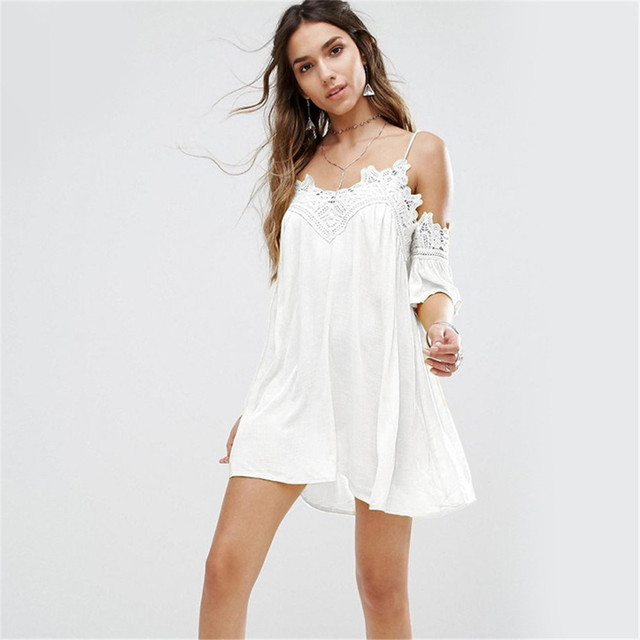 91b3a0b52c Junior Girls 2017 Holiday Beach Dress New Lace White Loose Butterfly Sleeve  Collar V Spagehtti Strap Sweet Mini Dresses Clothing