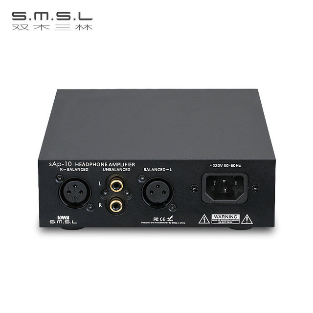 SMSL SAP-10 HI-FI Headphone Amplifier Full Balanced Output XLR and RCA Input Built-in Linear Power Supply TPA1620A2 Chips Black 3