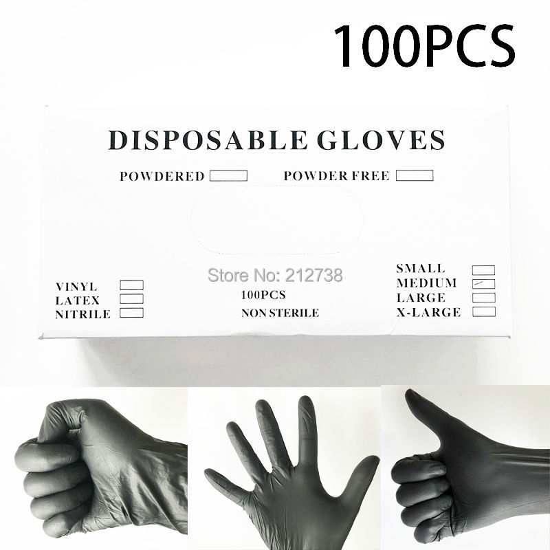 100PCS Latex Tattoo Gloves Disposable Soft Black Medical Nitrile Sterile Tattoo Gloves Tattoo Accessories Free Shipping 900pcs cots disposable latex sets rubber non slip labor beauty massage nail profiling tattoo white finger cot