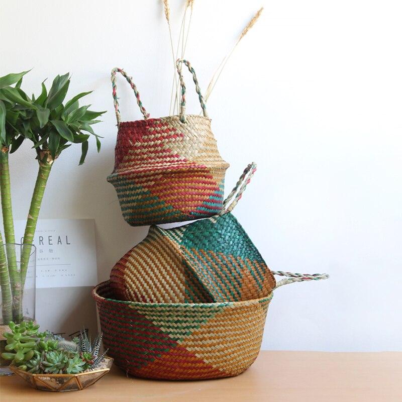 Корзина для белья из натурального ротанга, цветочная корзина-ваза, горшок для растений, корзина для живота, Соломенные Игрушки, органайзер, ...