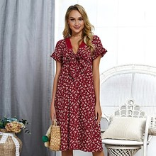 BEFORW Sexy V Neck Lace Ruffle Women Dress Vintage Fioral Bow Tie Short Sleeve Knee-Length Dresses 2019 Summer Beach Dress bow tie neck ruffle sweater