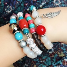 Bohemian 4pcs/Set Handmade Colorful Beaded Bracelet Set Multilayers Alloy Feather Pendant Elastic String Jewelry