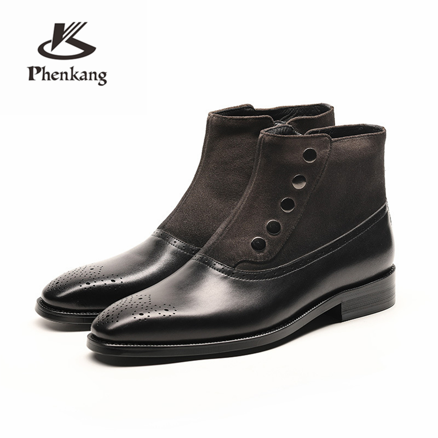 Men winter Boots Genuine cow leather chelsea boots brogue casual ankle flat shoes Comfortable quality soft handmade black brown new fashion men shoes comfortable pointed toe genuine leather for men chelsea boots brogue anti skid business shoes black brown