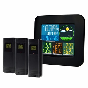 Image 5 - محطة الطقس الرقمية ميزان الحرارة والرطوبة 6 أنواع توقعات الطقس 3 الاستشعار اللاسلكية مع ساعة تنبيه DCF MSF RCC