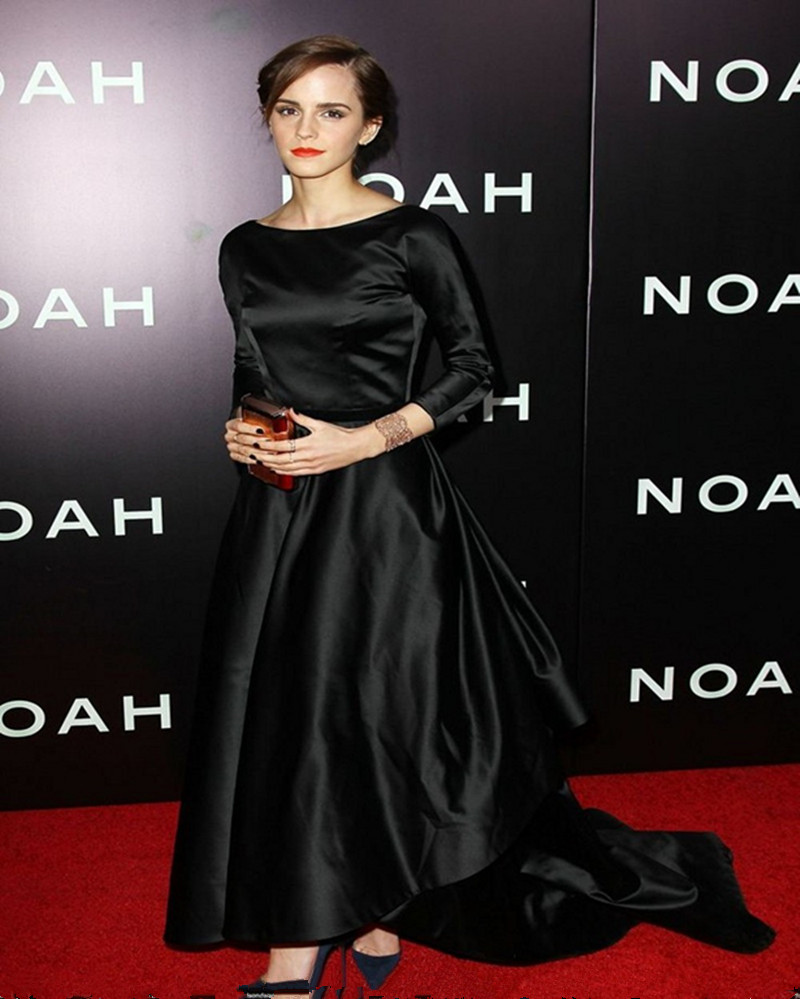 2016 Oscar Emma Watson Black red carpet dresses full