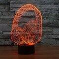 Nova Chegada Fones De Ouvido 3D Colorido gradiente LEVOU Interruptor do Toque Da Lâmpada Luz Da Noite Visual Perspectiva Mutável