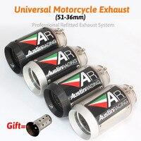 51mm Inlet Motorcyle Exhaust Pipe AKRAPOVIC Exhaust AR Exhaust SC Exhaust Silencer For Z1000 Z750 Z800 NINJA250 Tmax530 KTM ATV