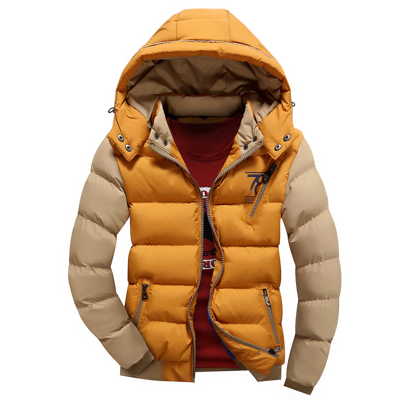 ФОТО Cotton Padded Winter Mam Jacket Warm Outwear Patchwork Hooded Casual Fashionable Parka Men Coat Cotton Contrast Color Button