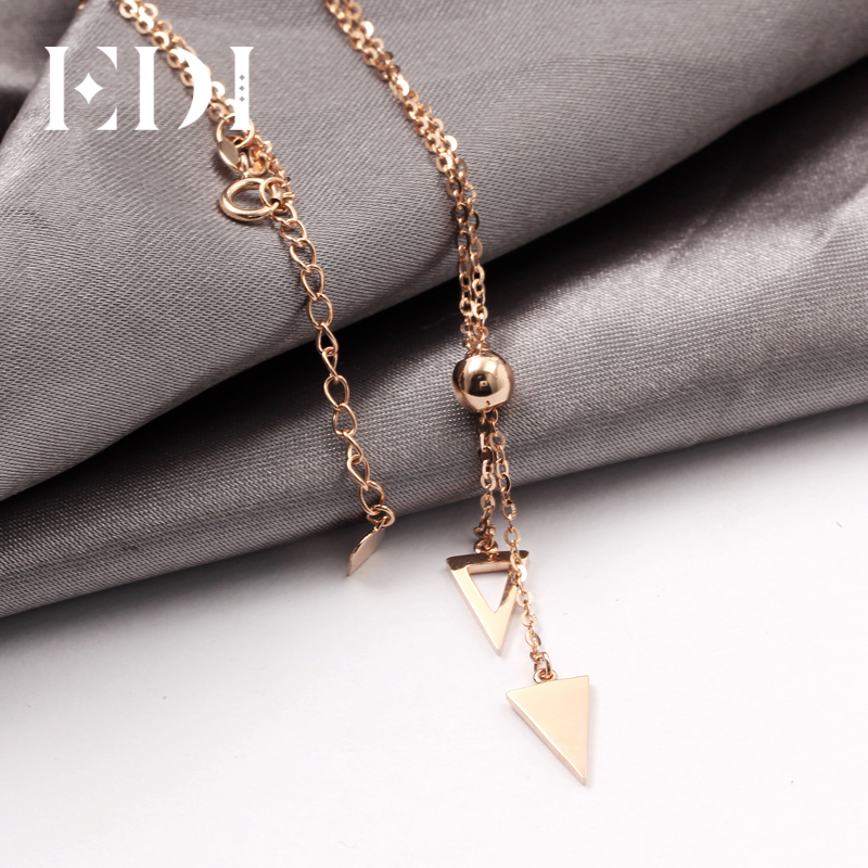 EDI Real Pure 18K Rose Gold Pendant Necklace OL Style Sweater Chain Round and Triangle Design Pendant Jewelry Gift For WomenEDI Real Pure 18K Rose Gold Pendant Necklace OL Style Sweater Chain Round and Triangle Design Pendant Jewelry Gift For Women