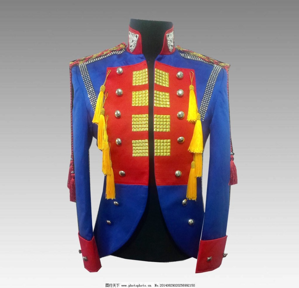 Traje de trajes masculinos paillette dj punk chaqueta azul cantante - Ropa de hombre