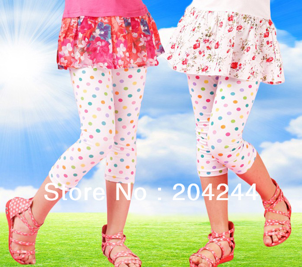 Exclusive 2013 new design! Free shipping 5pcs/lot high quality multcolor polka dots leggings for girls