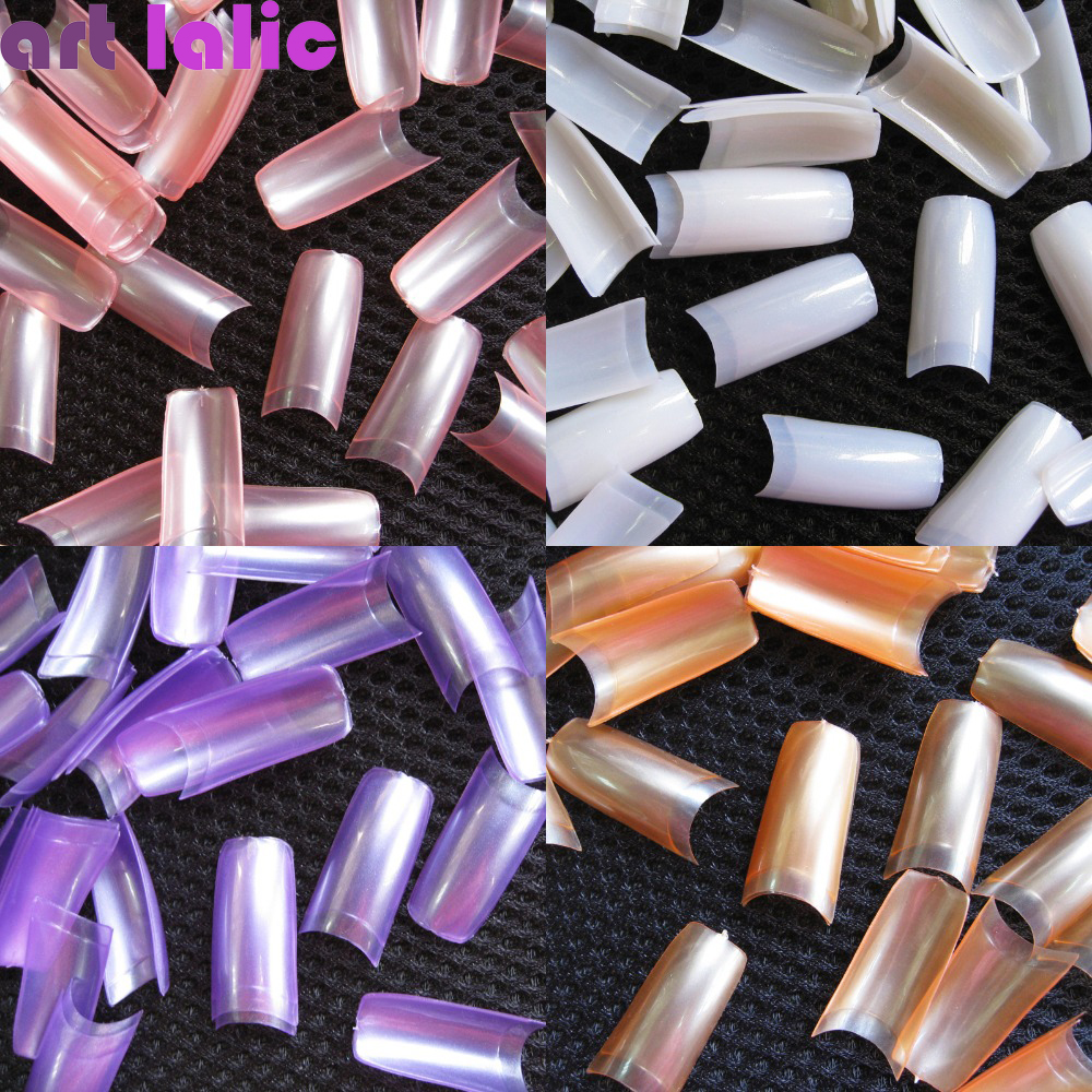 NEW 500 PCS French Style Nail Tips Pearl Pearly Color False Acrylic ...