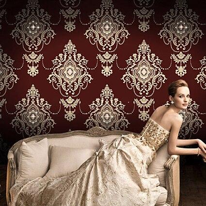 Vintage damask wallpaper glitter victorian wallcovering diamond luxury wall coverings flocking crown papel de