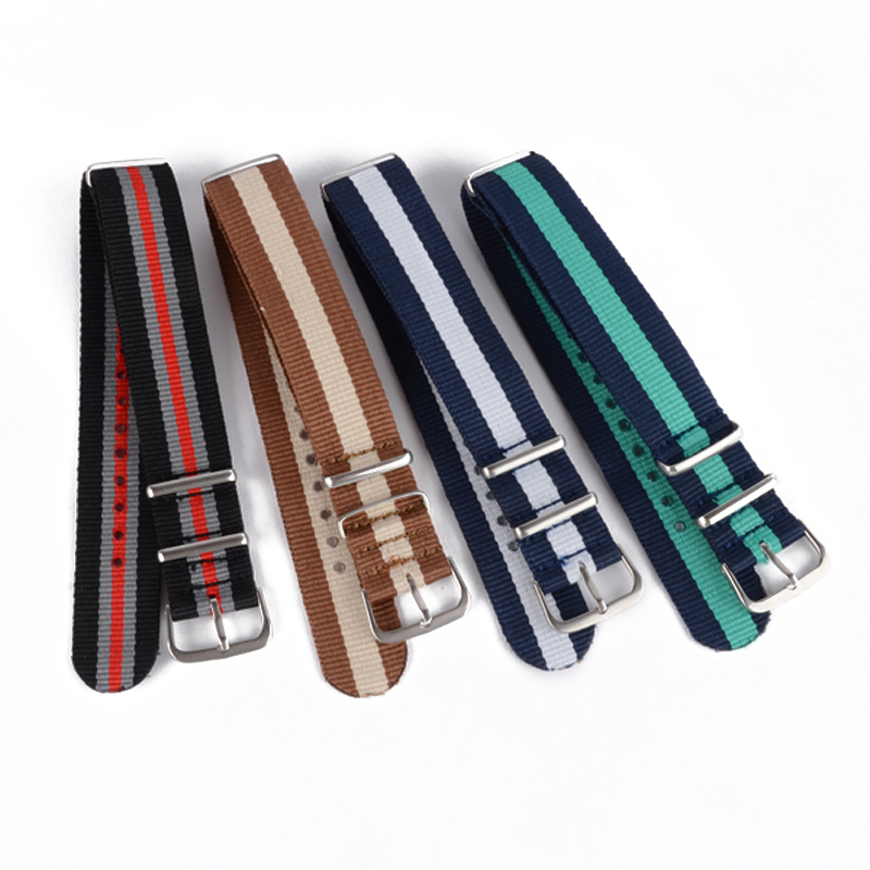 Fashion Original Luxury Watch Band 18mm 20mm 22mm Nylon Fabric Legering Spänne Rem Armbandsur Band Armbandsur Tillbehör