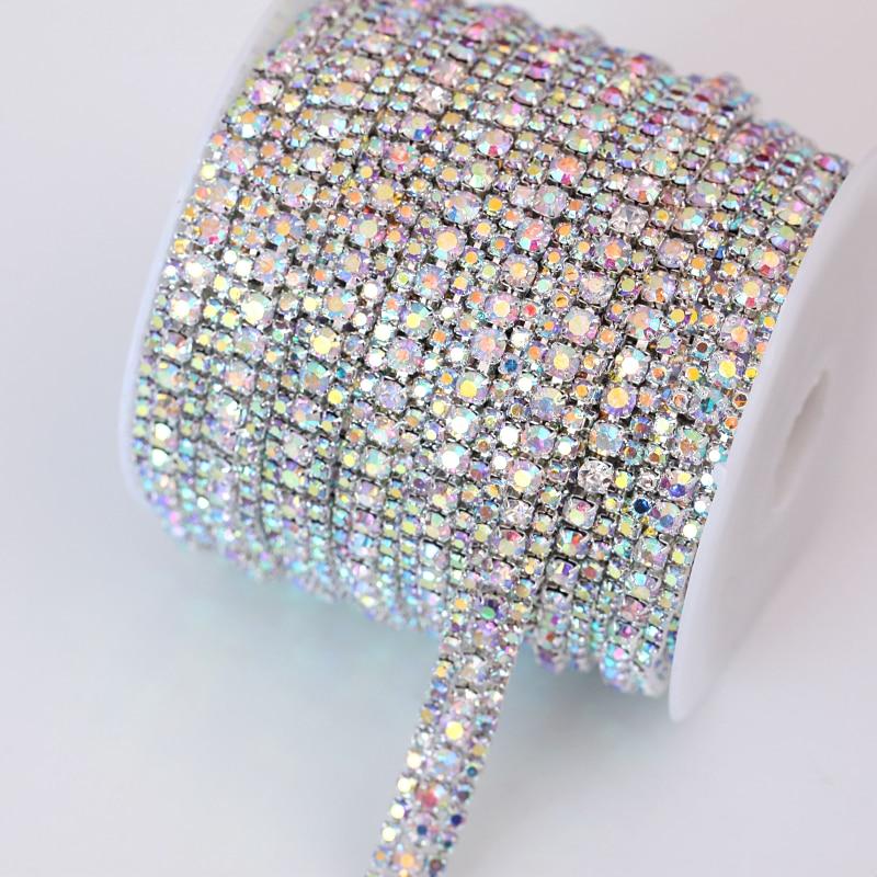 SS8+SS16+SS8 1 Yard 91.5cm 3 Rows Crystal AB Glass Sew On  Rhinestone  Chain With Sliver Base Rhinestone Trimming  B1685