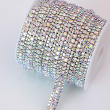 SS8+SS16+SS8 1 Yard 91.5cm 3 Rows Crystal AB Glass Sew On Rhinestone Chain with Sliver Base Rhinestone Trimming B1685(China)