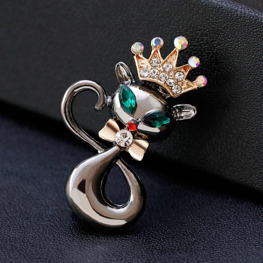 Hidup Kebanggaan Kucing Bros untuk Pesta Shell Logam Mahkota Biru Crystal Enamel Pin Hitam Hewan Bros untuk Wanita Perhiasan Aksesoris