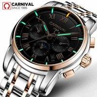 T25 Tritium Gaz Lumineux Mécanique Montres Hommes Carnaval Plein Acier Multi-fonction Automatique Montre-Bracelet Homme Horloge reloj hombre