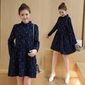 Spring Autumn Maternity Dress Plus Size Clothing Fashion Printed Pregnancy Clothes for Pregnant Women Shirt Dresses Dark Blue