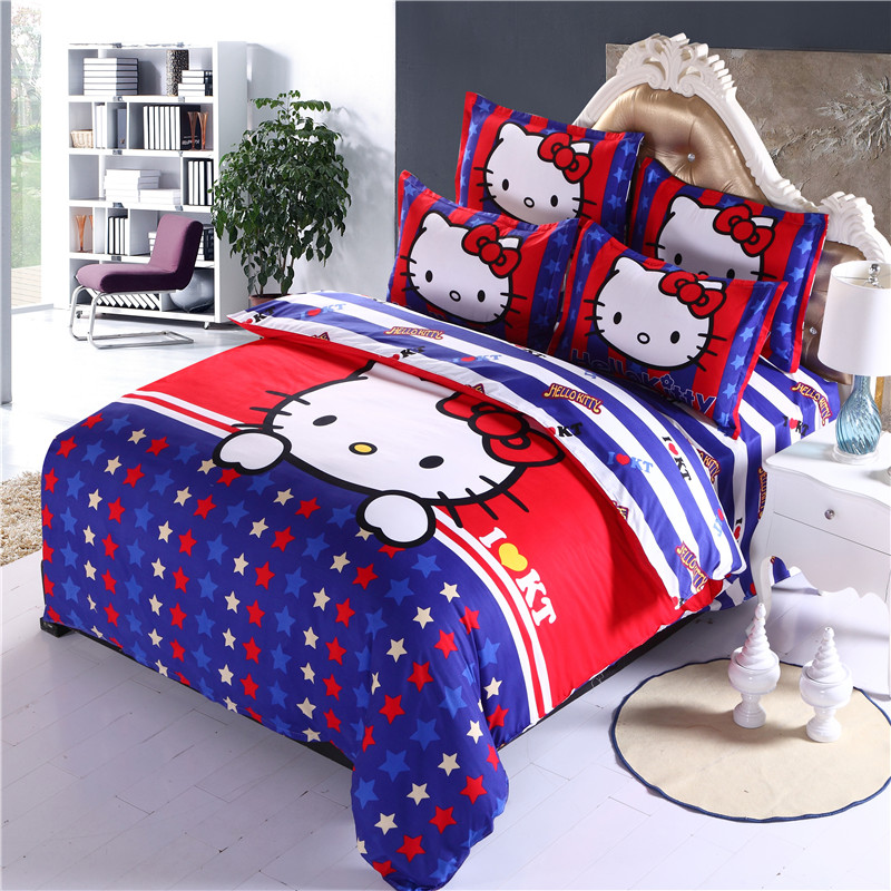 Home textiles children cartoon Blue white striped star pattern Hello kitty queen bedding sets duvet cover bed sheet pillowcaseHome textiles children cartoon Blue white striped star pattern Hello kitty queen bedding sets duvet cover bed sheet pillowcase