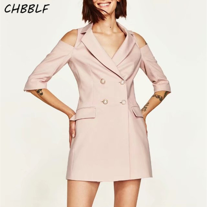 Spring new European casual brief dress fashion sleeve hollow out notched collar ladies pink suit type dress HJH1223