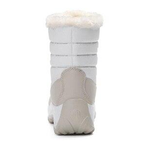 Image 3 - 2019 נשים שלג מגפי חורף מגפיים חמים עבה תחתון עמיד למים פלטפורמת קרסול מגפי נשים עבה פרווה כותנה נעלי גודל 35 42