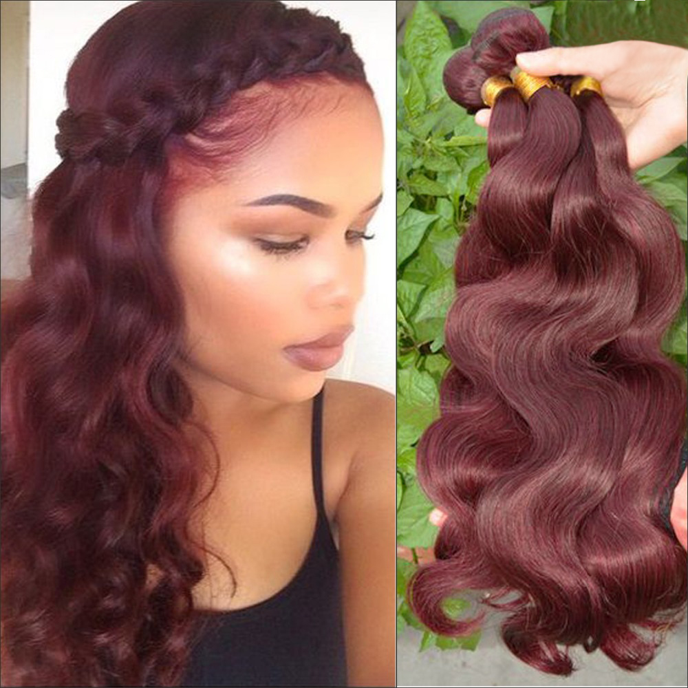 Grade 7a Burgundy Hair Extensions Body Wave 3pcs Lot