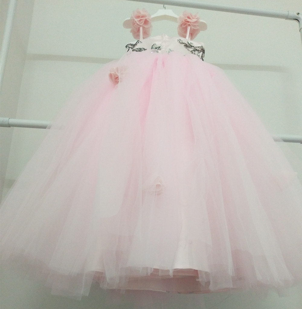 01ea78f50c96 Luxury Handmade Embroidery Princess Baby Girls Dress Beauty Pink ...