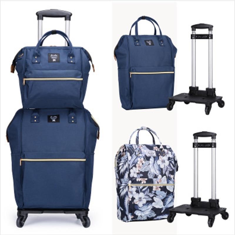 Bagage portable chariot de voyage sac à dos sac à dos avec roues femmes sac à main léger grande capacité valise bagage à main