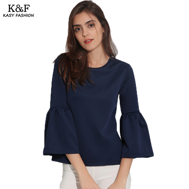 6736d12e243 2018 Women Long Sleeve Casual Autumn t-shirt Round Neck Lantern Sleeves Navy  Blue Tops Ladies Winter Tees Chemisier Femme