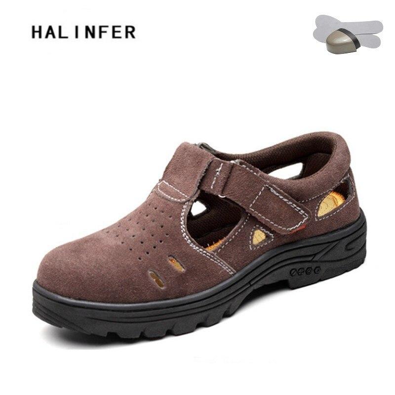 HALINFER/Новинка 2018 года мужские сандалии большой размеры 45 46 Модные дышащие со стальным носком шапки Рабочая обувь с проколов