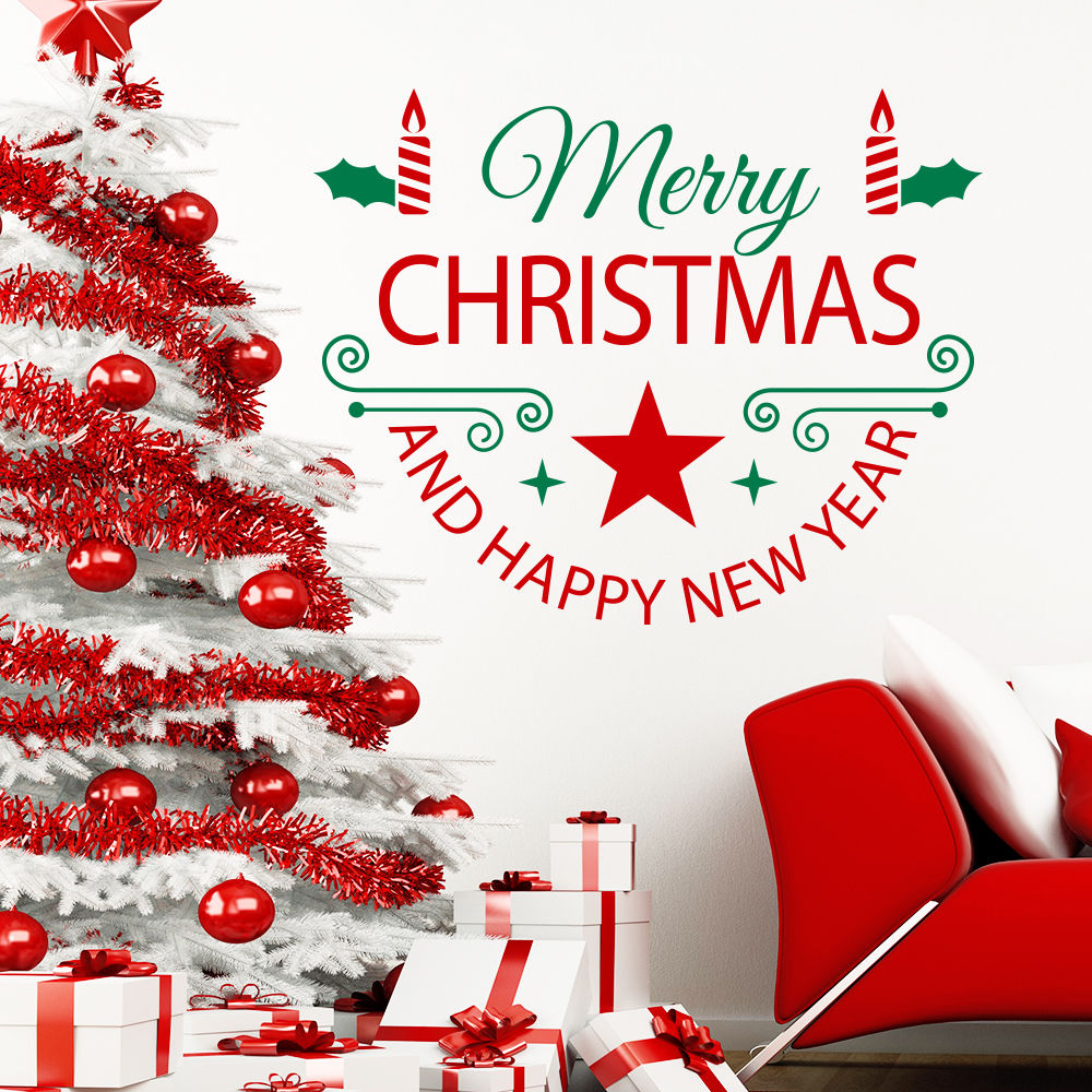 Buy 2018 merry christmas art wall decals for Christmas wall mural