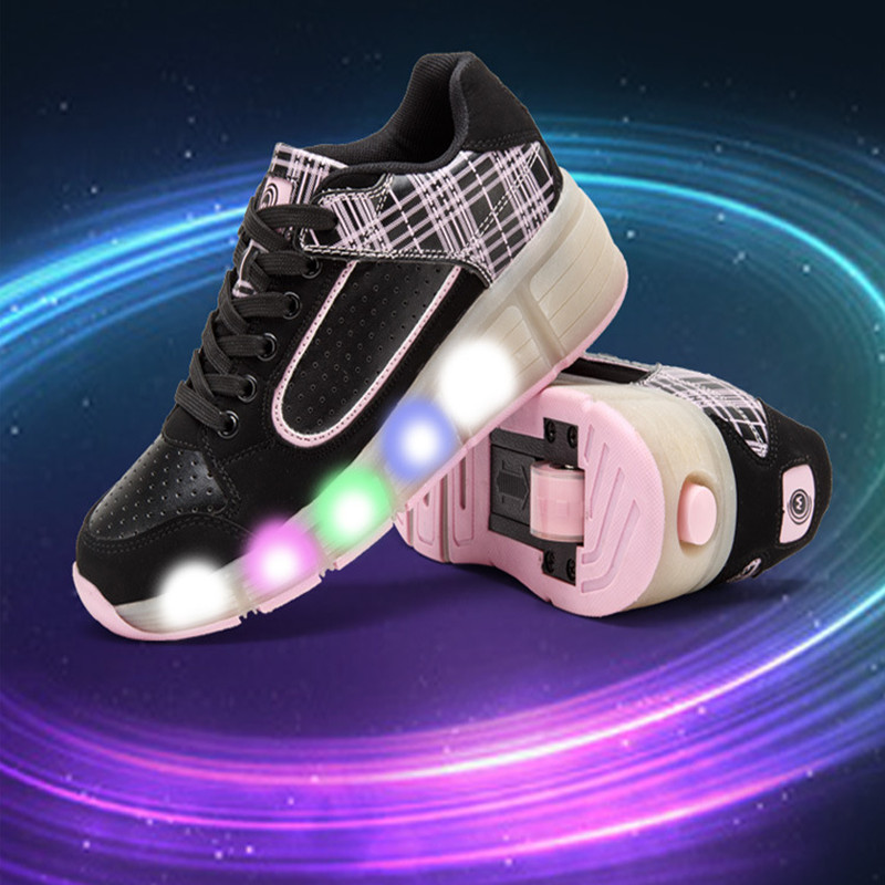Kids Girls Shoes Children Roller Shoes Kids Sneakers with Wheels Boys LED Light Up Shoes Zapatillas Deportivas Hombre цена 2017