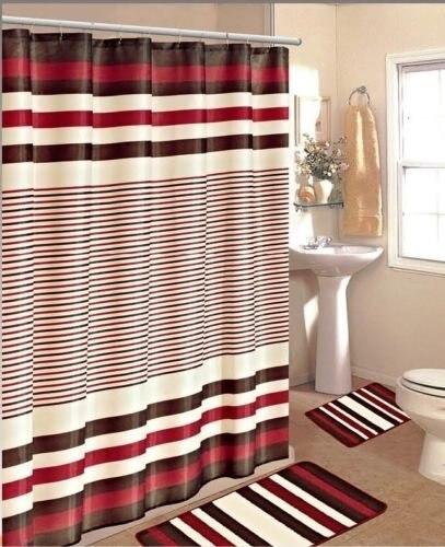 Memory Home BURGUNDY BROWN STRIPE BATHROOM BATH S SET RUG CARPET SHOWER  CURTAIN 70 X 72inch - Online Get Cheap Burgundy Shower Curtains -Aliexpress.com