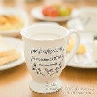 1 Pcs Zakka High Grade Bone Ceramic Blue And White Vine Tea Mugs Breakfast Milk Cups
