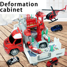 Deformable fire police racing container truck parking alloy track car electric boy Children's educational toys стоимость