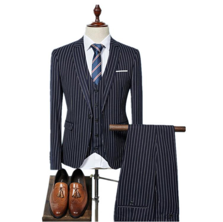 (Jacket+Vest+Pants)Custom Made Suit Tuxedo Fashion Men's Slim Fit Skinny Business Suit Wedding Groomsmen Suits Costume Homme