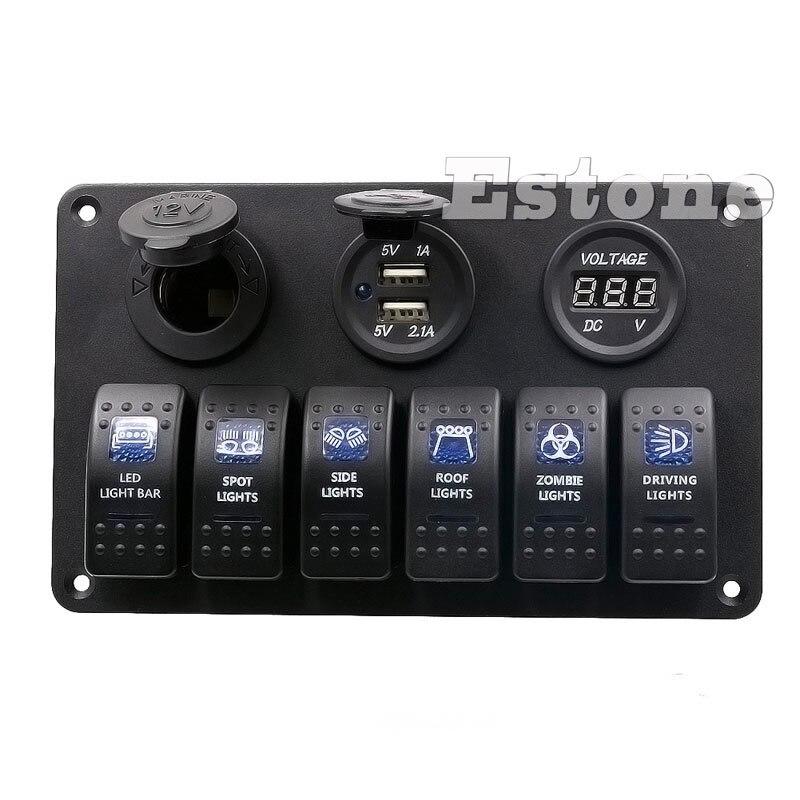6 Gang LED Rocker Switch Panel Circuit Breakers Charger 12V 24V for Boat Marine #0406 zero 8 gang waterproof car auto boat marine led rocker switch panel circuit breakers