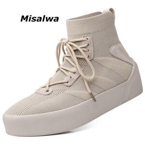 Image 1 - Misalwa Mannen Sok Schoenen 38 45 Hoge Top Casual Stretch Mannen Vulcaniseer Schoen Winter Lente Lace Up Sneakers flat/2.5Cm Toenemende